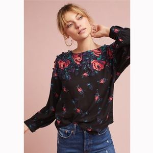 Anthropologie Maeve Floral Gardenia Boat Neck Top